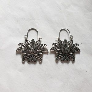 Tocona Flower Drop Silver Earrings